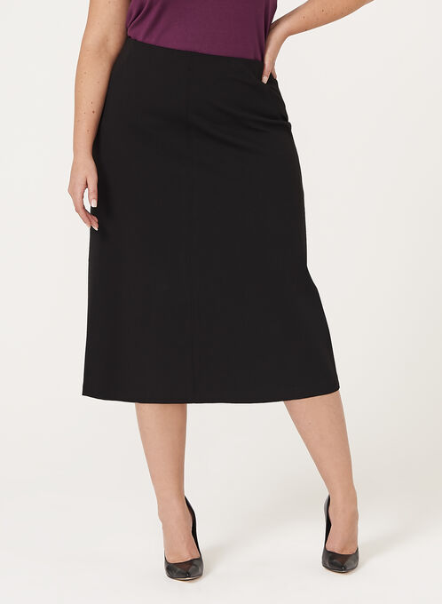A-Line Ponte Skirt, Black, hi-res