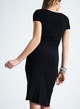 Short Sleeve Rhinestone Ring Dress, Black, hi-res