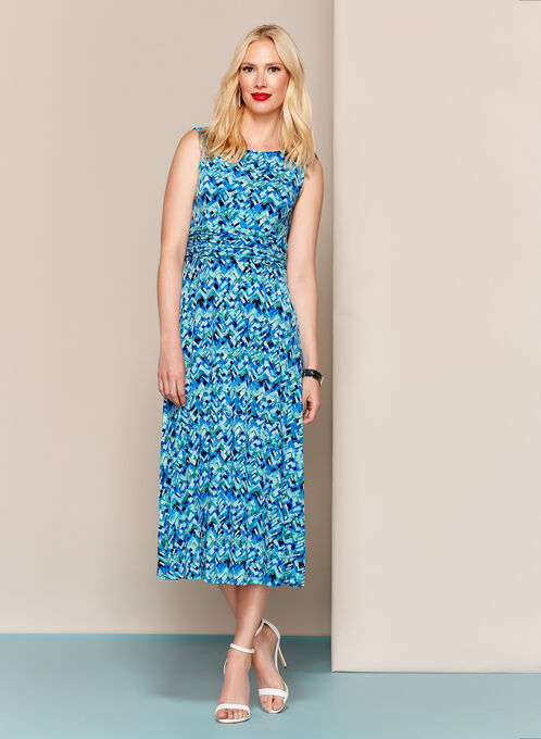 Abstract Print Jersey Fit & Flare Dress, Blue, hi-res