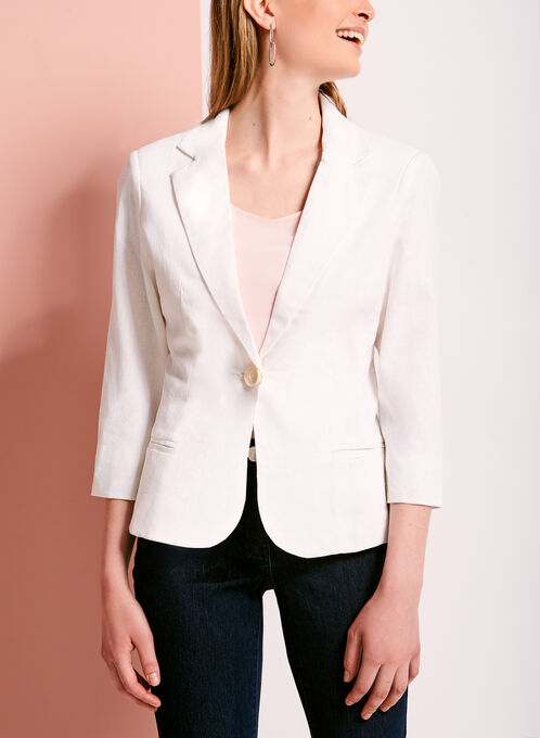 Linen Blend Single Button Blazer, White, hi-res