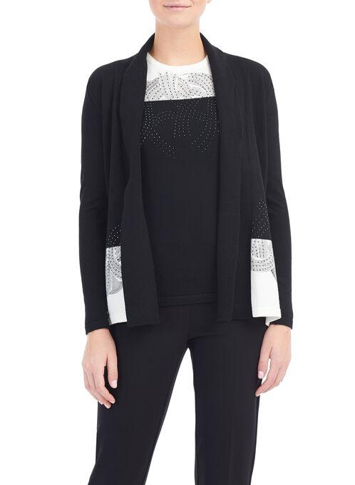 Rhinestone Detail Knit Cardigan, Black, hi-res