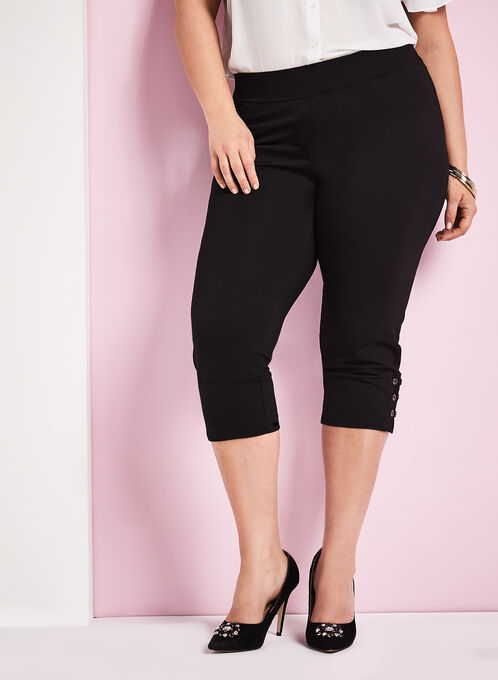 Picadilly Button Trim Ponte Capris, Black, hi-res