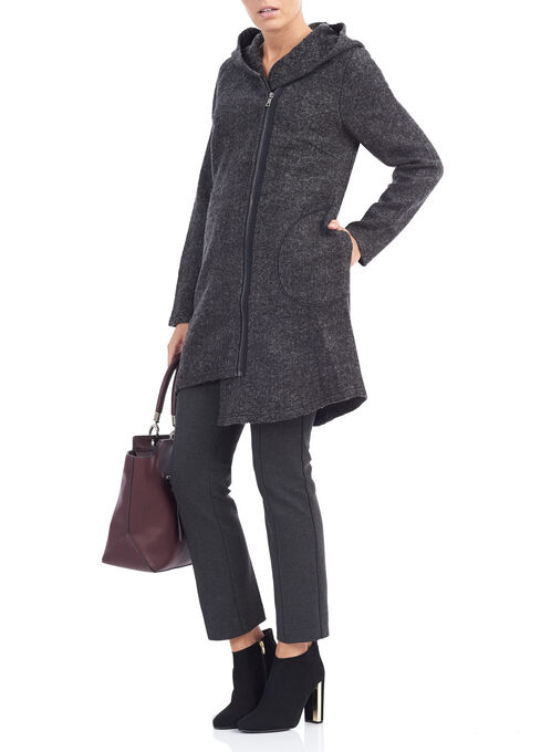 Hooded Asymmetrical Zip Coat, Grey, hi-res