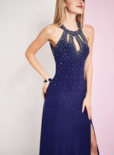 Crystal Embellished Cutout Gown, Blue, hi-res