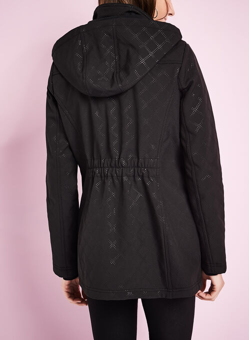 Diamond Embossed Coat, Black, hi-res