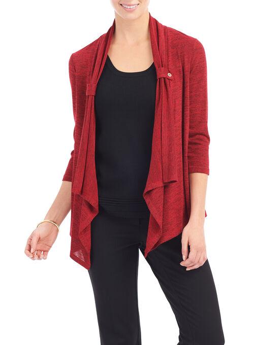 3/4 Sleeve Melange Print Cardigan , Red, hi-res