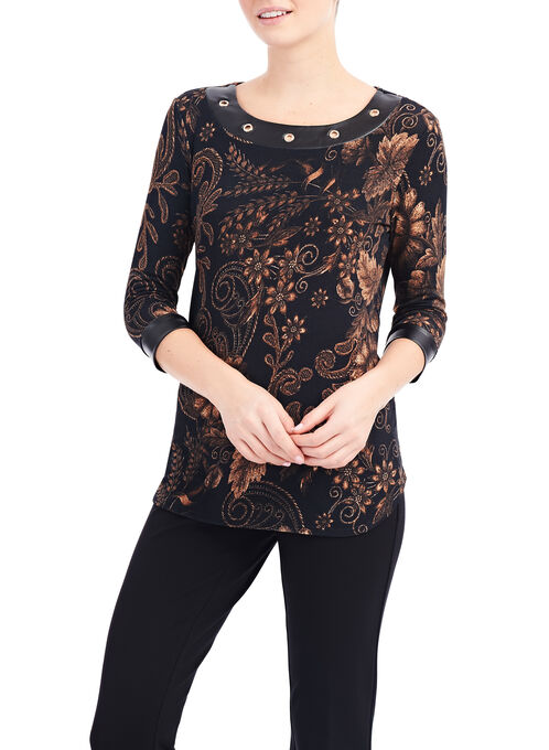 Floral Baroque Print Top, Black, hi-res