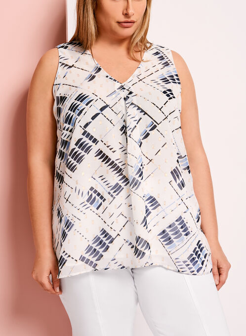 Geometric Print Double Layer Chiffon Blouse, White, hi-res