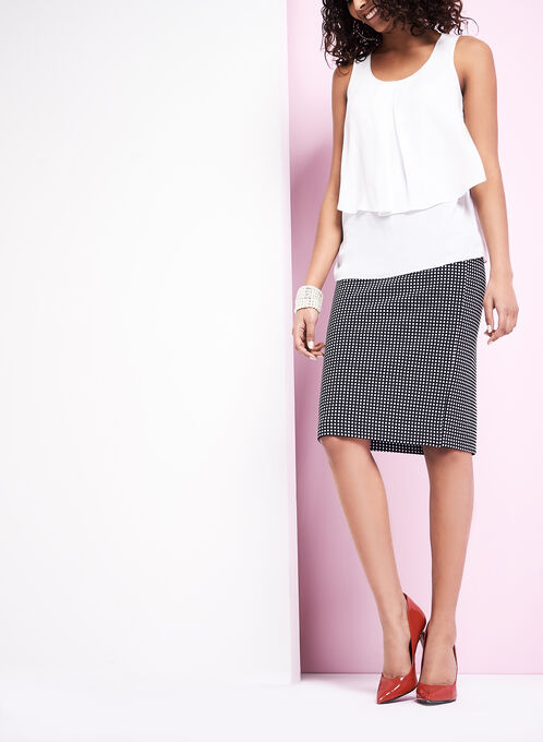 Dot Print Pencil Skirt , Blue, hi-res