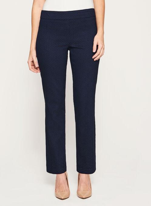Pantalon pull-on à jambe droite et motif nid d'abeille, Bleu, hi-res