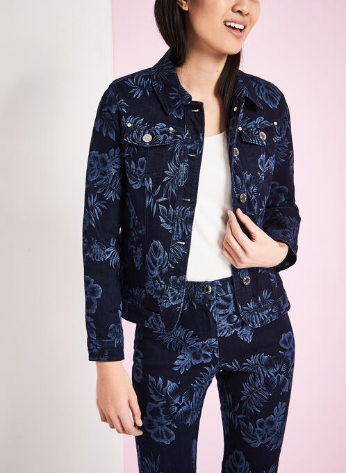 Floral Print Denim Jacket, Blue, hi-res