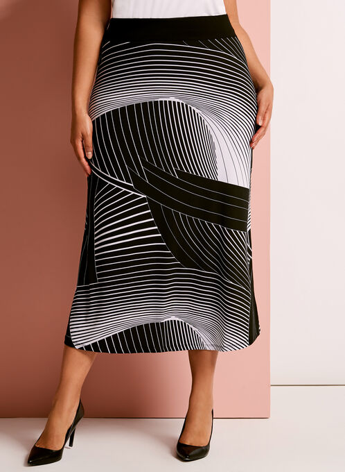 Abstract Stripe Print Midi Skirt, Black, hi-res
