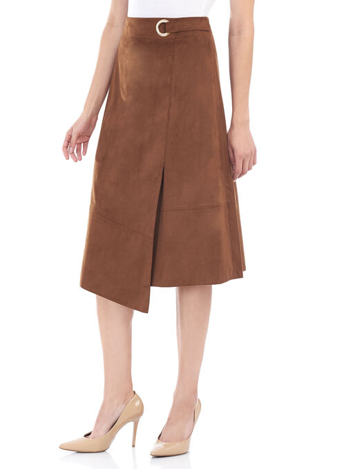 Faux Wrap Ring Detail Skirt , Brown, hi-res