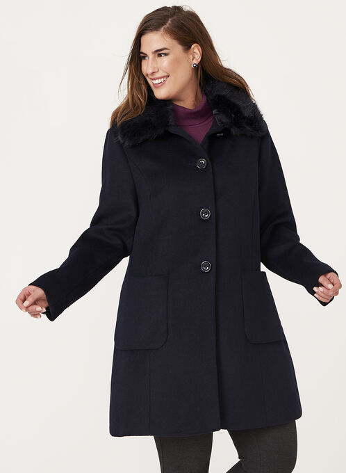 Macrona - Faux Fur Trim Wool Blend Coat, Blue, hi-res