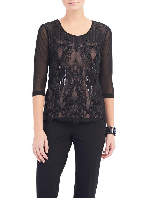 Vintage Lace Beaded Top, Black, hi-res