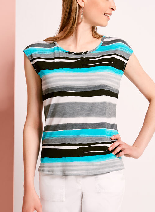 Stripe Print Button Back Top, Blue, hi-res