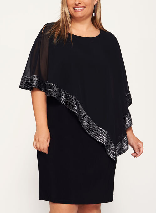 Foil Trimmed Poncho Dress, Black, hi-res