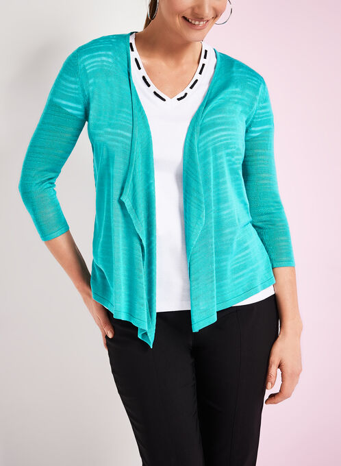 3/4 Sleeve Knit Cascade Cardigan, Blue, hi-res