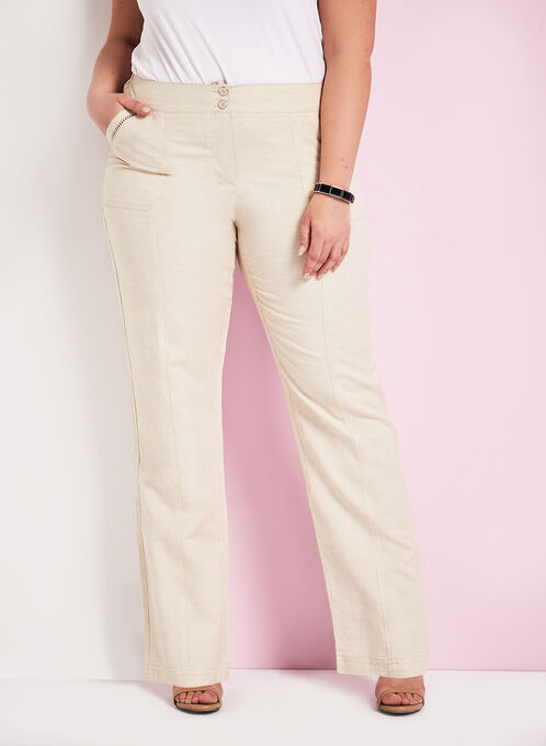 Pointelle Trim Wide Leg Pants, Grey, hi-res