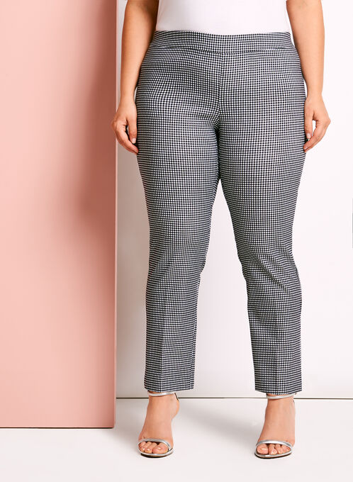 Modern Fit Gingham 7/8 Pants, Black, hi-res