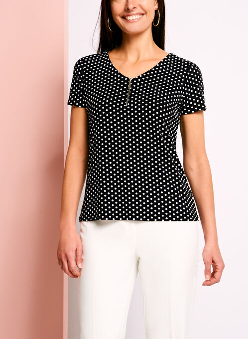 Zipper Trim Dot Print T-Shirt, Black, hi-res
