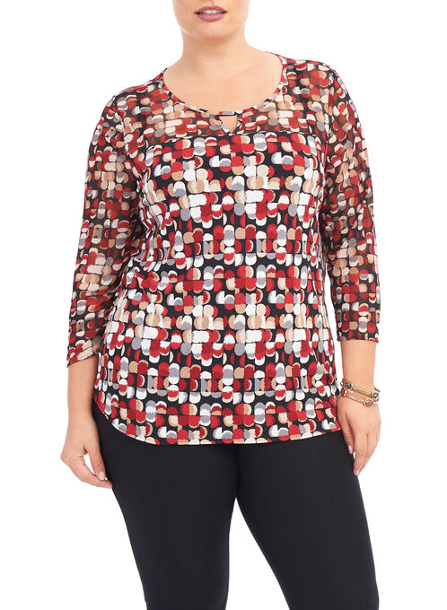 3/4 Sleeve Dot Print Top, Red, hi-res
