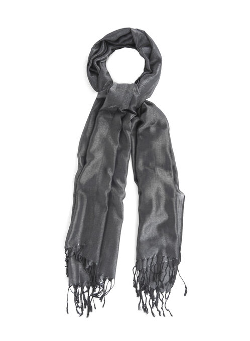Lurex Lightweight Scarf, Black, hi-res