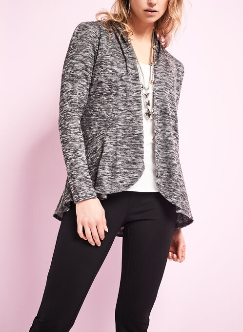 Heather Knit Open Front Cardigan, Black, hi-res