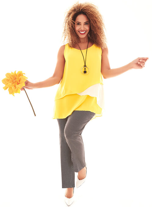 Sleeveless Multi-Layer Blouse, Yellow, hi-res