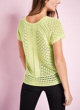 Crochet Knit Scoop Neck Sweater, Green, hi-res