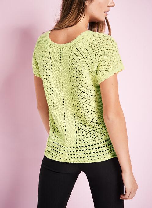 Short Sleeve Crochet Sweater, Green, hi-res