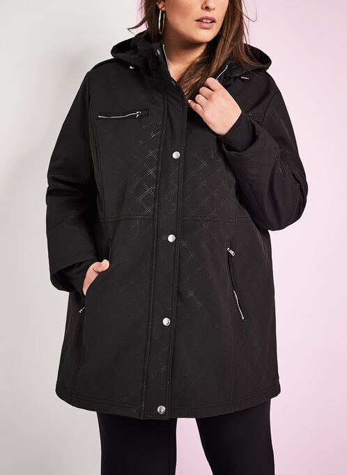 Softshell Detachable Hood Coat , Black, hi-res