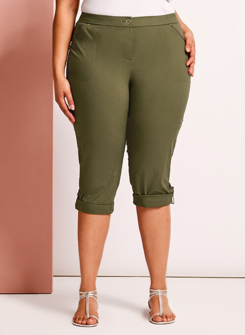 Modern Fit Capri Cargo Pants, Green, hi-res