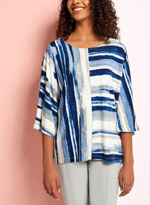 Linea Domani 3/4 Sleeve Graphic Stripe Print Top, Blue, hi-res