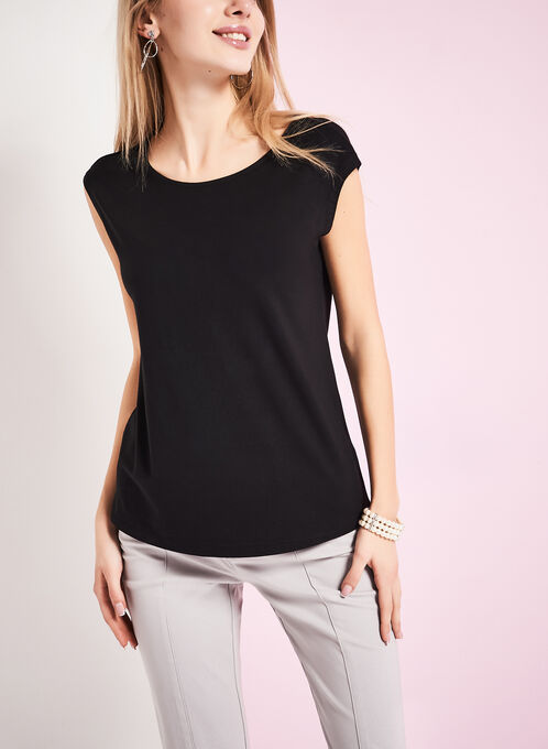 Boat Neck T-Shirt , Black, hi-res