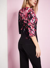 3/4 Sleeve Floral Print Top, Black, hi-res