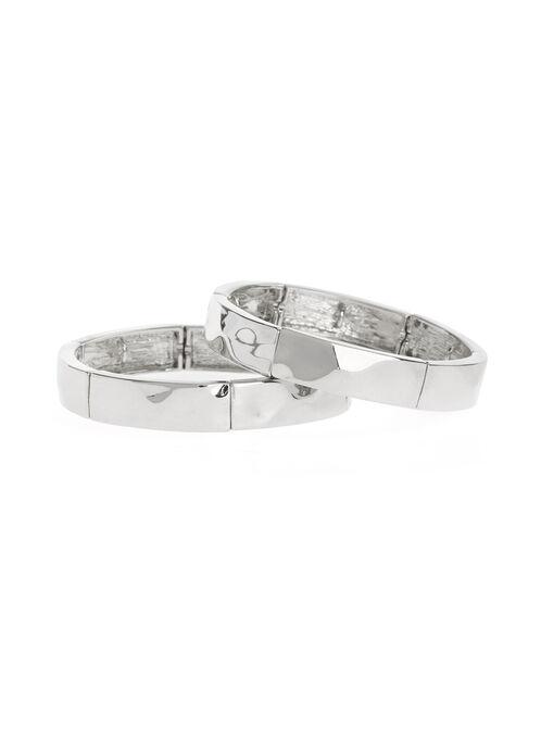 Set of Metal Stretch Bracelets, Gold, hi-res