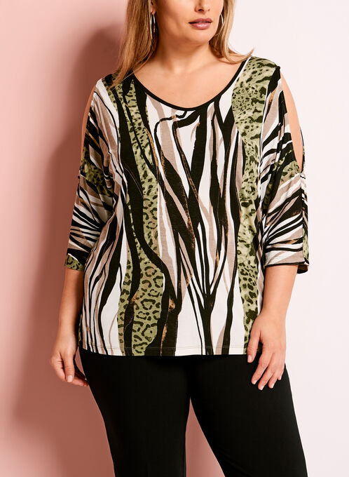 Animal Print Cold Shoulder Top, Green, hi-res