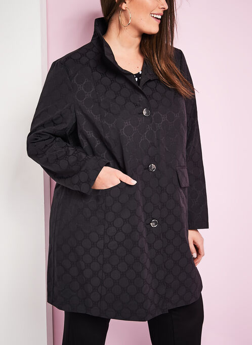 Novelti Jacquard A-Line Coat, Black, hi-res