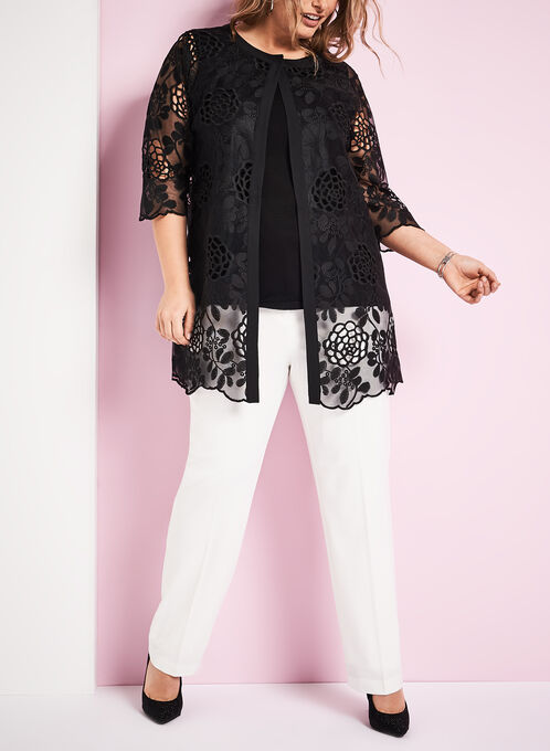 Sheer Embroidered Floral Motif Jacket, Black, hi-res