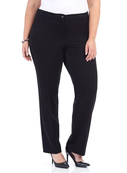 Straight Leg Buckle Trim Pants , Black, hi-res