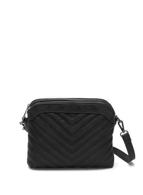 Faux Leather Quilted Purse , Black, hi-res