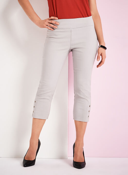 Simon Chang Micro Twill Capri Pants, Silver, hi-res