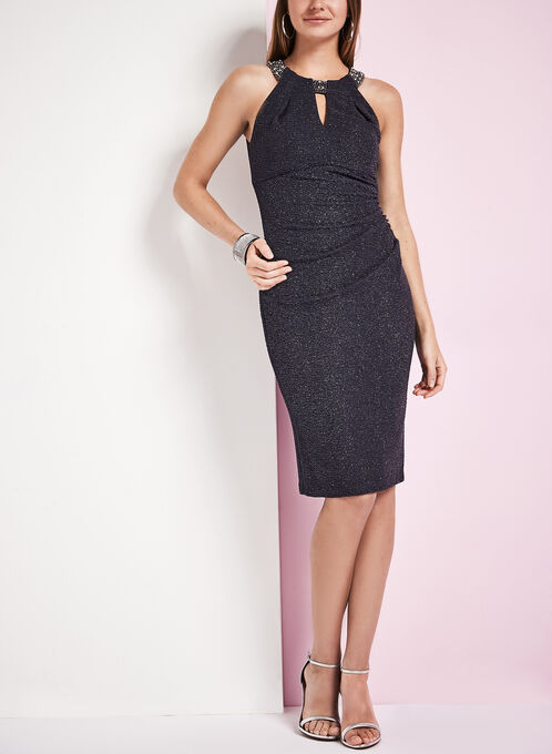 Glitter Crepe Knit Dress, Silver, hi-res