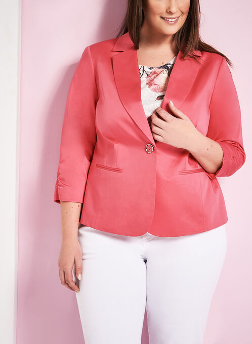 Sateen Single Button Blazer, Pink, hi-res