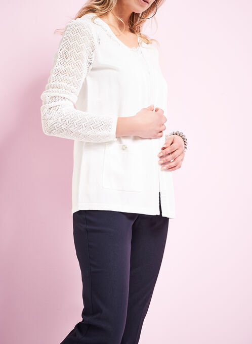 Knit Pointelle Cardigan , Off White, hi-res