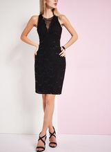 Mesh & Sequined Lace Dress, Black, hi-res