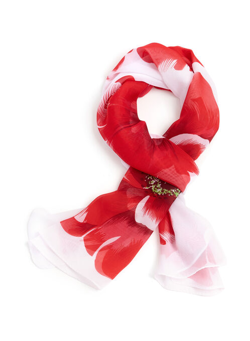 Sheer Floral Print Scarf, Red, hi-res