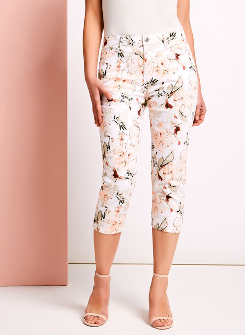 Simon Chang - Floral Print Capris, Orange, hi-res