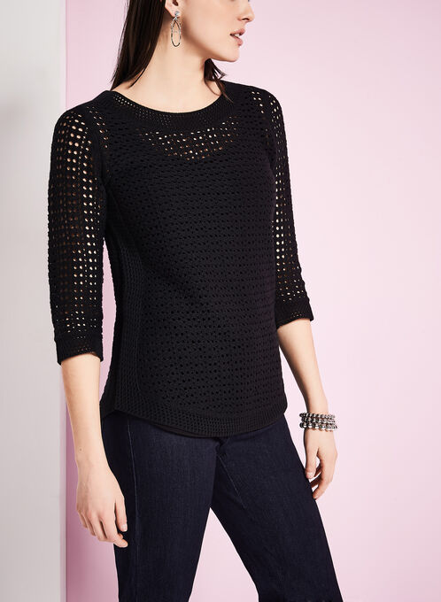 3/4 Sleeve Pointelle Sweater, Black, hi-res